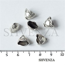 Шапочки для бусин концевики конусы цвет античное серебро 001-135