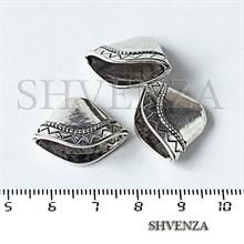 Шапочки для бусин концевики конусы крупные цвет античное серебро 001-137